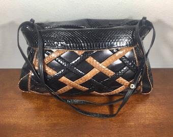 Weaved Purse, Snake Skin Purse, Black, Brown, Leather, Shoulder Bag, 1980s,