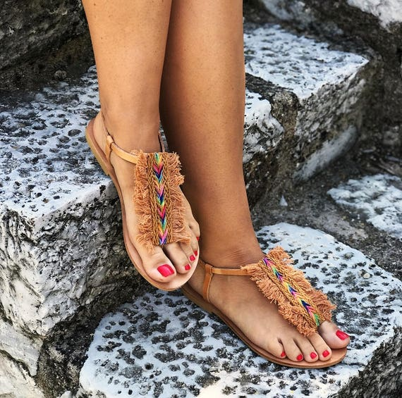 """T strap Boho Leather Sandals """"AFRICA"""" / Tan Cotton Lace / Jute Lace / Handmade Greek Leather / T-bar Leather Sandals"""