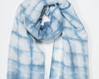Hand-Dyed Shibori Hemp/Silk Scarf in Blue and White - Sustainable, Artisan Made in USA