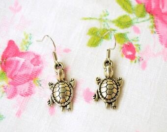 Turtle Earrings, Tortoise Earrings, Turtle Jewelry, Silver Turtle Charm, Turtle Gift, Turtle Pendant Necklace, Nickel Free  Earrings