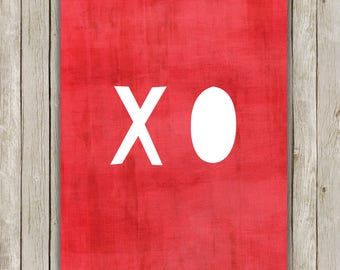 8x10 XO Printable Art, Hugs and Kisses Wall Art, Valentine's Day Typography Print, Poster Wall Art, Wall Art Decor, Instant Download