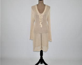 Crochet Dress Long Sweater Tunic Bell Sleeve Boho Beach Cover Up Hippie Clothes Boho Clothing Womens Dresses Tan Beige Ivory Womens Clothing