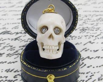 Handcarved Bone Skull Genuine Diamond Eyes Pendant 14k Yellow Gold/ Antique Vintage Memento Mori