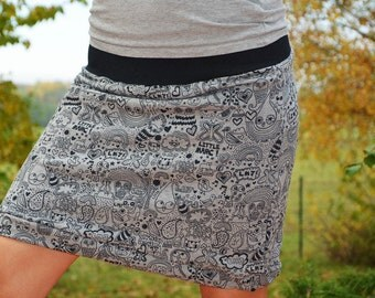 jersey sweat skirt, mini skirt,grey,pattern
