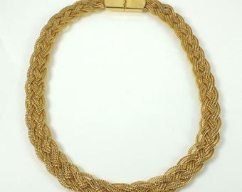 Vintage Gold Tone Fine Braided Chain Necklace Choker - Unsigned - Free Shipping