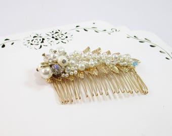 Pearl Hair Comb, Ivory Wedding Comb, Rhinestone Pearl Comb, Wedding Flower Girl Clip, Bridesmaid Hair Clip