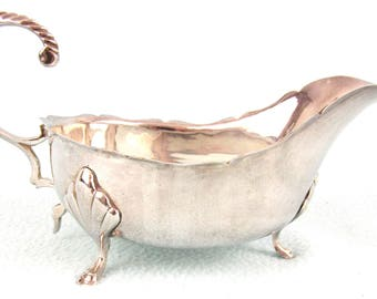 Antique Silver Plated Sauce Boat, Traditional Antique, Georgian Style, Hoof Feet, Dining Table, Gravy Boat, Feather Handle, Elegant Chic