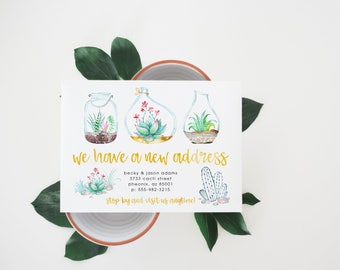 printable moving announcement · succulent · change of address card · housewarming party · moving announce · watercolor cactus · we've moved