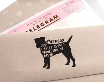 Dog Address Stamp, Custom Address Stamp, Jack Russell Terrier Return Address Stamp, Self Ink, Wedding Gift,Doglover Stamp Housewarming Gift,