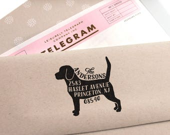 Dog Address Stamp, Custom Address Stamp, Beagle Return Address Stamp, Self Ink Stamp, Wedding Stamp Idea, Doglover Stamp, Housewarming Gift,