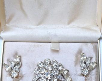 Eisenberg Ice Rhinestone Brooch and Earrings Vintage