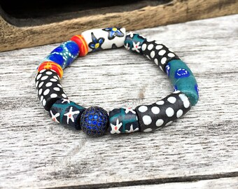 African Stretch Bracelet~Krobo Bead Bracelet~Blue Micro Pave~Black & White Stretch Bracelet~Multi Color Boho Bracelet~Stacking Bracelet~OOAK