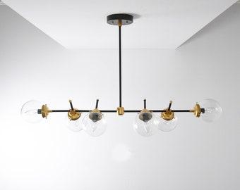 Modern Bubble Candelabra Chandelier Raw Brass Gold 6 Arm Light clear globe Pinwheel Sputnik Mid Century Industrial Hanging Light UL Listed