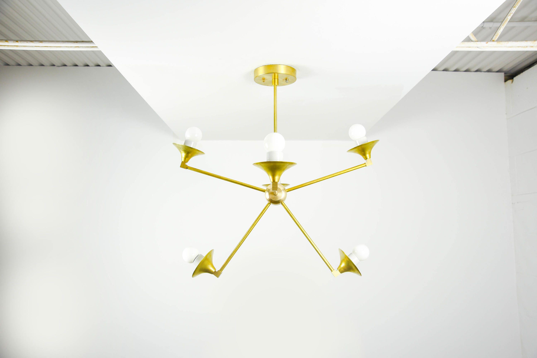 Modern Chandelier Gold 6 Arm Pinwheel Bulb Brass Sputnik Mid