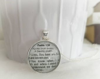 Psalm 139 Bezel Necklace/Pendant necklace/Gift for Her/Gift for mom/Gift for Wife/Christian Jewelry/Vintage Jewelry/Custom jewelry