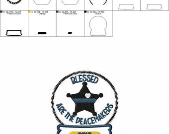 Blessed are the Peacemakers 5 Point Star Badge - Sheriff - Christmas - Snow Globe - Ornament -  In The Hoop - DIGITAL Embroidery DESIGN