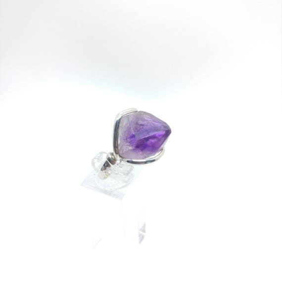 Raw Amethyst Ring | Sterling Silver Ring Sz 8 | Raw Stone Ring | Raw Crystal Ring | February Gift Ring | Rough Purple Quartz Ring