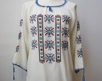 1970s Mexican Embroidered Peasant Blouse with Long Sleeves, Size Large