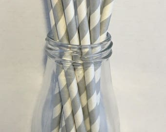Silver Stripe Paper Straws, Mason Jar Straws, Party Decor, Straws