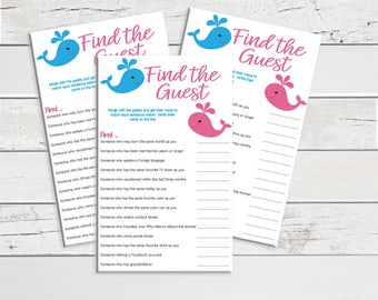 Find the Guest, Baby Shower Game, Whales, Pink, Teal, Ice Breaker Game, Instant Download, Couples Baby Showers,