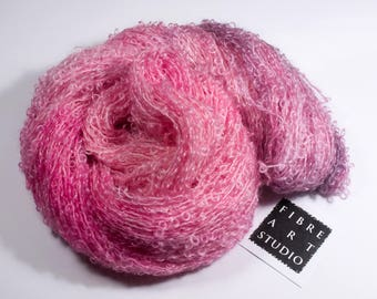 Big Kid>> Kid Mohair Boucle Loop Yarn | Aran Weight 100 g 210 yards | Pale Pink | Kitting Crochet Weaving Variegated Yarn  | Cotton Candy