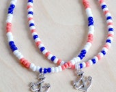 Beach Anklet, Anchor Anklet, Blue, Coral and White Beaded Anklet, Boho Anklet, Nautical Anklet
