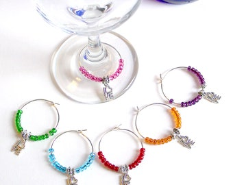 LOVE Wine Charms Set of 6 / Hostess Gift / Wine Lover's Gift / Wine Glass Charms / Wine Glass Jewelry