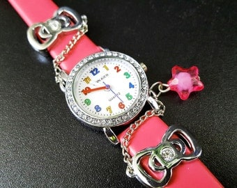 Cartoon Children Watch, Girl's Lether Bracelet Watch, Pink Wristwatch