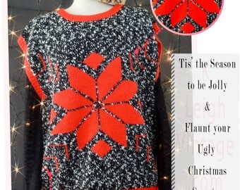 Ugly Christmas Sweater Vest, 80s Oversized Sweater, Poinsettia Christmas Sweater, Bold Holiday Black Knit Sweater Vest, Women's Size Large