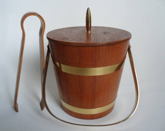 Vintage wooden ice bucket,ice bucket,ice bucket with ice cube tongs, lined with aluminum