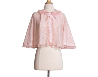 1960s Vintage Pink Lace Bed Jacket, Mid-Century 60s Ribbon Cropped Lingerie Sleepwear by Odette Barsa I. Magnin Small Medium