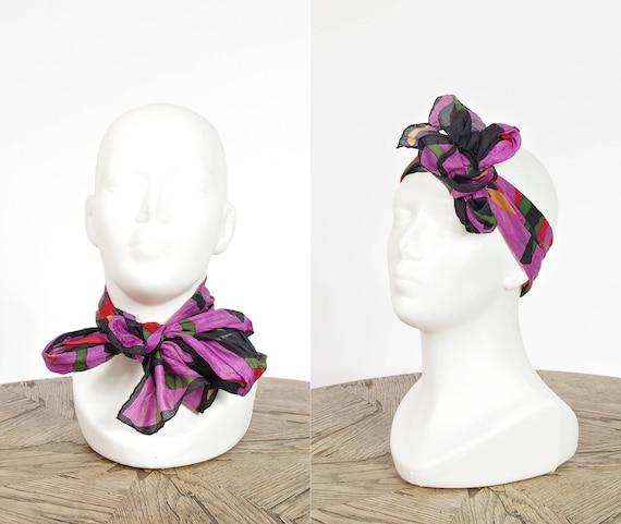 SALE! 80s Color block street style silk scarf / silk headband