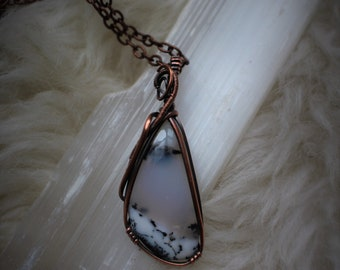 Dendritic Agate Oxidized Copper Wire Wrapped Gemstone Necklace