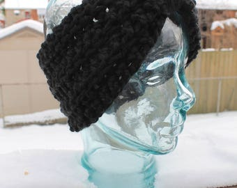 BLACK Crocheted Winter Headband/Earwarmer