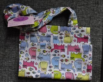 Fabric cotton tote project bag cats