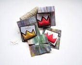 Crown art pin  Basquiat black artist gift pop art wearable urban crown gift unisex king and queen brooch New York style art for funky people