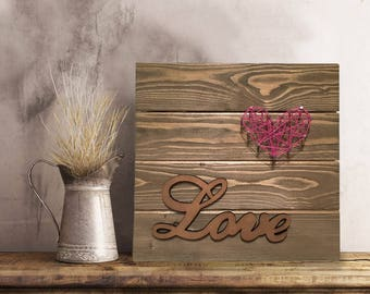 Heart Nail String Art Wood Hanging w/ Laser Cut Wooden Word: Love