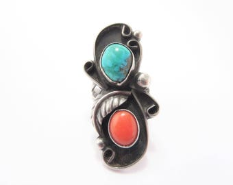 Large Vintage Native American Sterling Turquoise Coral Ring Size 5.5