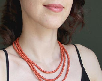 Multistrand simple everyday-Summer simple necklace-3 strand necklace-Terracotta necklace-Terracotta jewelry-Folk necklace-Folk jewelry