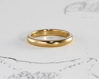 Antique Yellow Gold Wedding Band, Edwardian 18k Stacking Stackable Ring, Engraved Date 1905