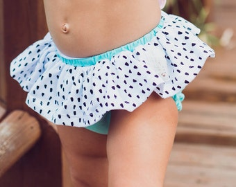 Ruffle Bloomer Shorts, Mint & Polka Dots Skirted Baby Toddler Shorts