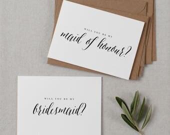5 x Will You be My Bridesmaid Card, Bridesmaid Proposal, Maid of Honor Card, Will You Be My Maid of Honor, Bridesmaid Card, Bridal Cards, K7