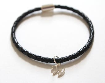 Leather Bracelet with Sterling Silver Cursive W Charm, Sterling Silver Cursive W Charm Bracelet, Leather W Charm Bracelet, W Charm Bracelet