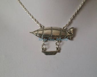 Large Silver Blimp Zeppelin Hot Air Balloon & Moveable Basket Pendant Necklace on Silver Crossed Chain. History, Travel, Costume, Different