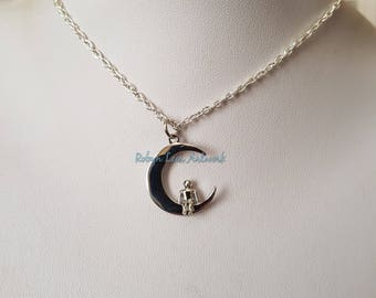 Small Silver Crescent Moon & 3D Sitting Man Charm Necklace on Silver Crossed Chain or Black Faux Suede Cord