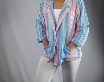 1980s ALFRED DUNNER Blazer//Striped//Size 16