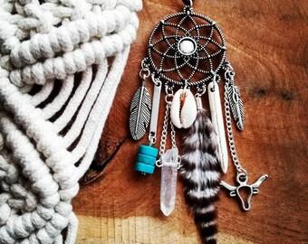 Bohemian feathercatcher necklace, seashell, quartz, stone dream catcher, boho
