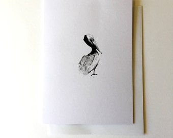 Pelican Greeting Card - Illustrated Note Card - Pelican Ink Illustration - Black and white Print