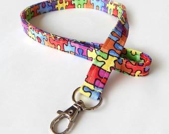 Puzzle Lanyard / Colorful Lanyard / Keychain / Puzzle Pieces / Puzzles / Key Lanyard / ID Badge Holder / Teacher Lanyard / Autism Awareness