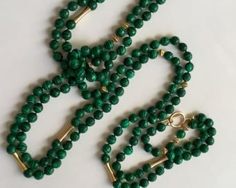 Malachite EXTRA LONG Necklace with 14K Gold